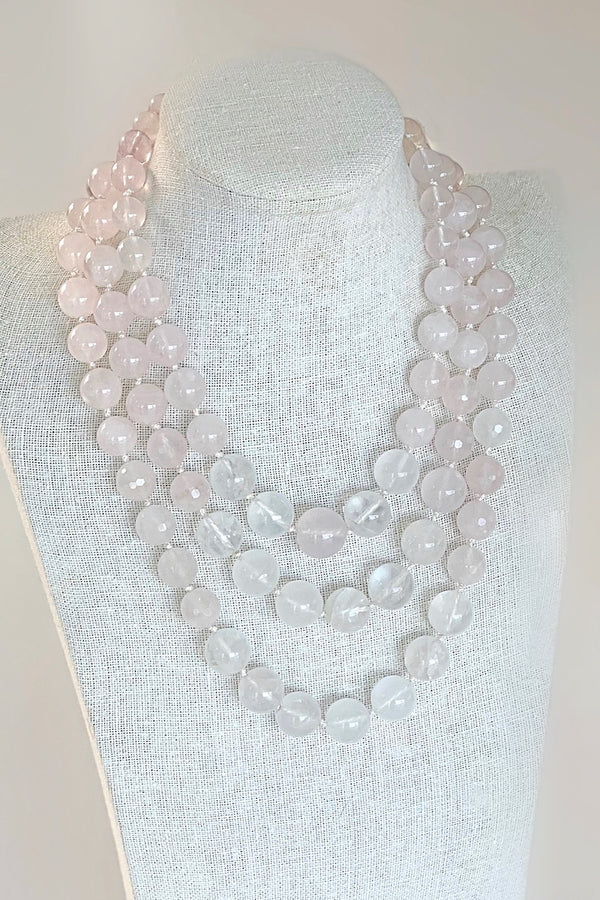 elegant and luxurious long rose quartz gemstone necklace