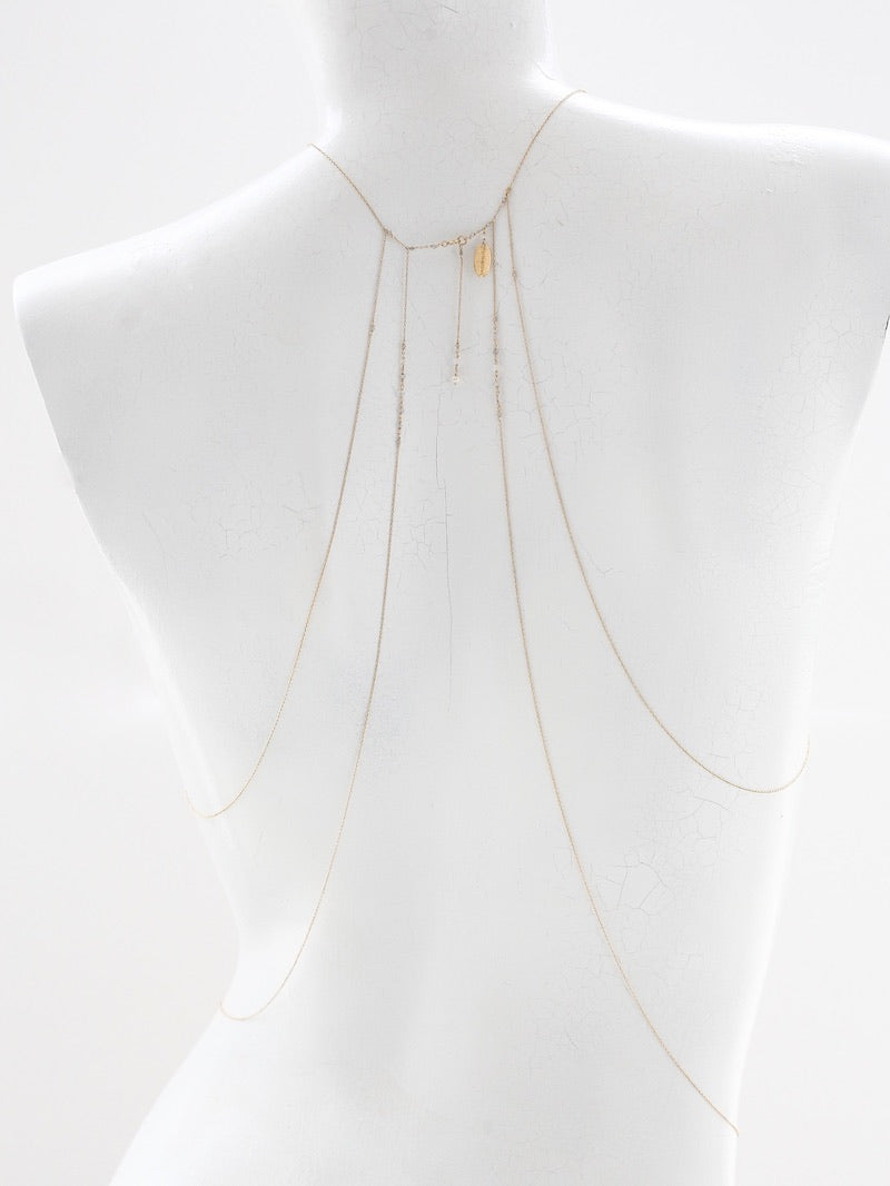 white ARETO body chain