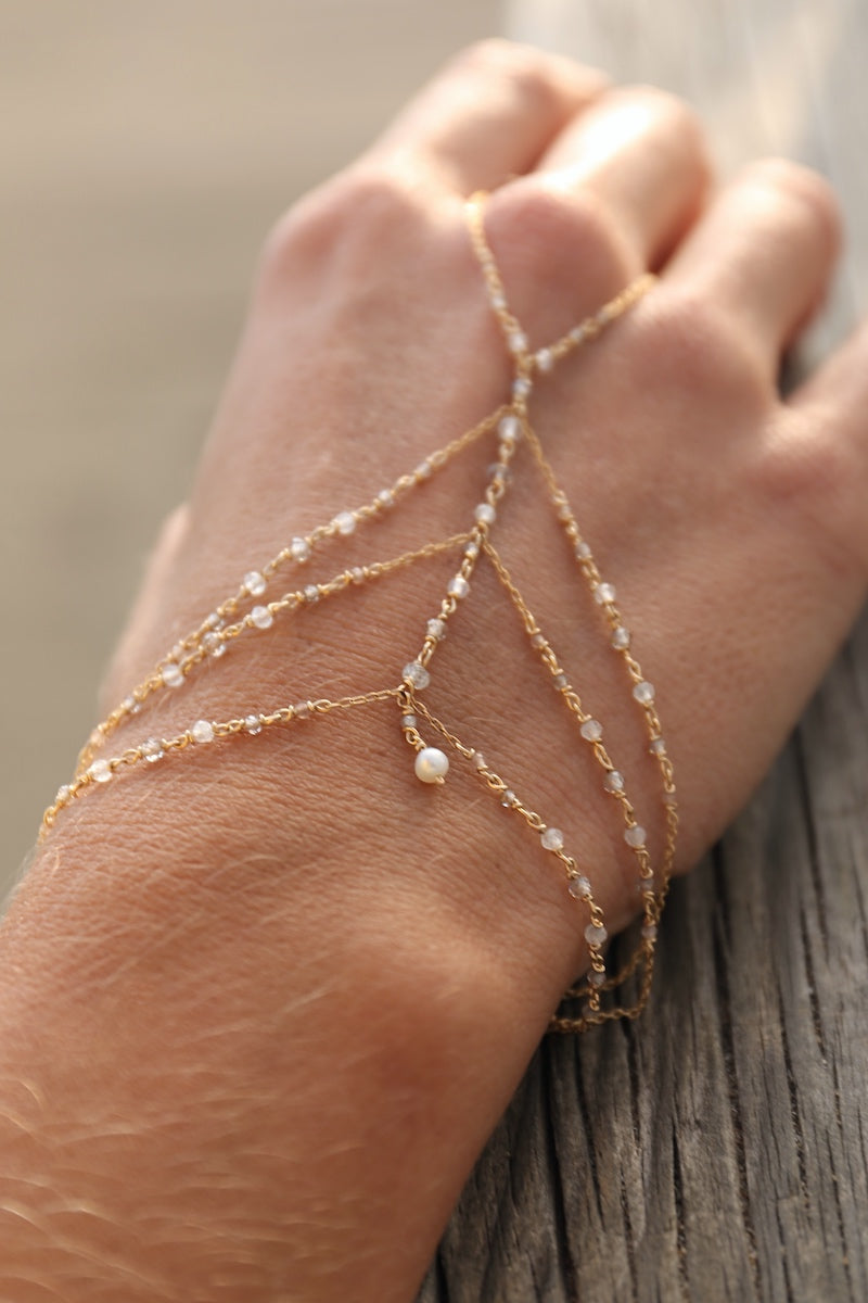 White gemstone hand chain