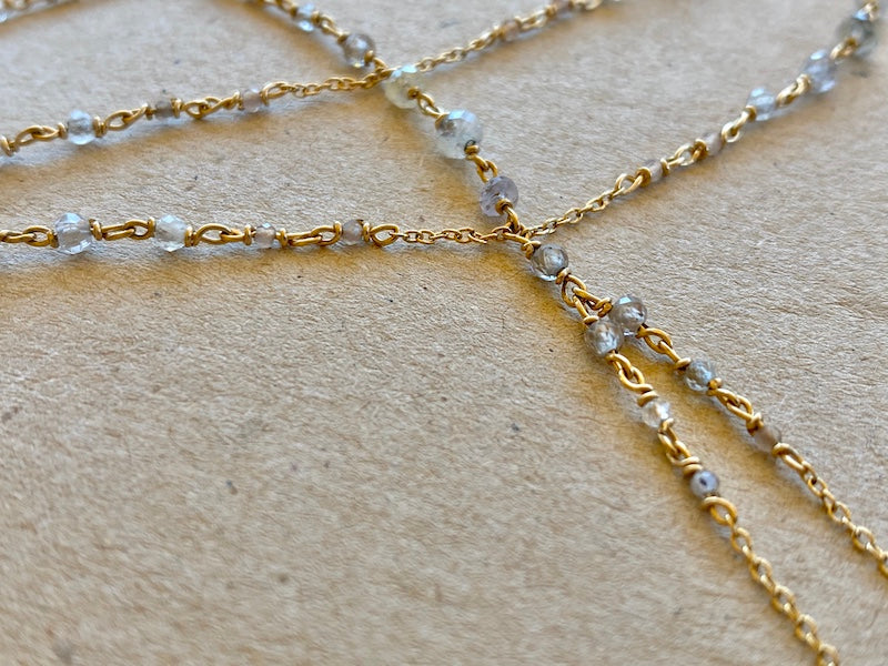 dainty and elegant white gold hand chain