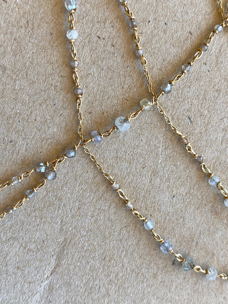 wear a hand chain with sapphires and moonstone