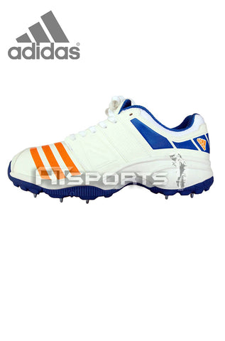 ADIDAS HOWZAT FS II SPIKE - WHITE/BRIGHT ORANGE/BLUE CRICKET SHOES