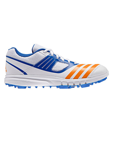 ADIDAS HOWZAT SPIKE - WHITE/BRIGHT ORANGE/BLUE CRICKET SHOES