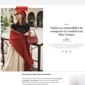 Slow Nature in Vogue Italian online, carbon footprint, climate and ecological emergency, green products and brands, sustainable fashion, eco-friendly and organic fabrics, socially responsible supply chain