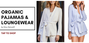 women's sustainable loungewear and pajamas. Shop organic cotton pyjamas for women. Christmas PJs.