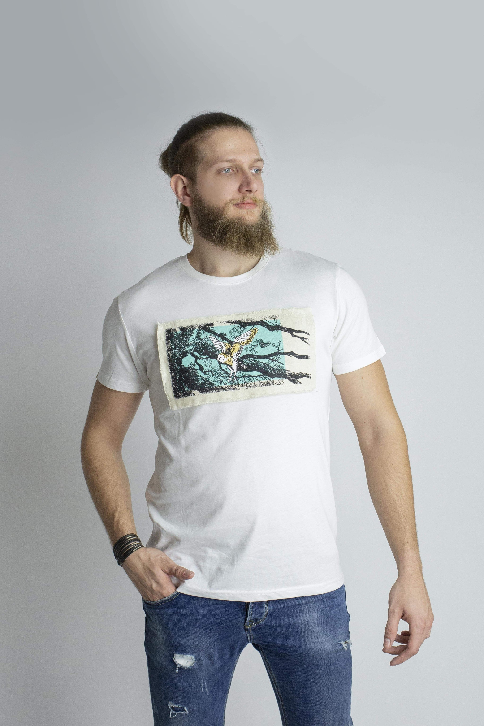 ASPISWEAR WildWhisper T-shirt WildBarn-owl Uomo sustainable fashion ethical fashion