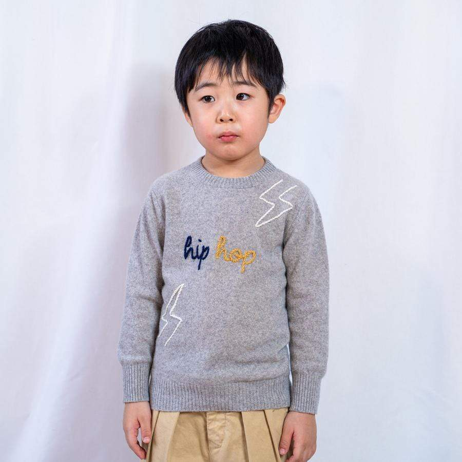 b&t by Vitos SAS sweaters Children's Sweater 'LIGHTNING BOLTS' in Regenerated Cashmere sustainable fashion ethical fashion