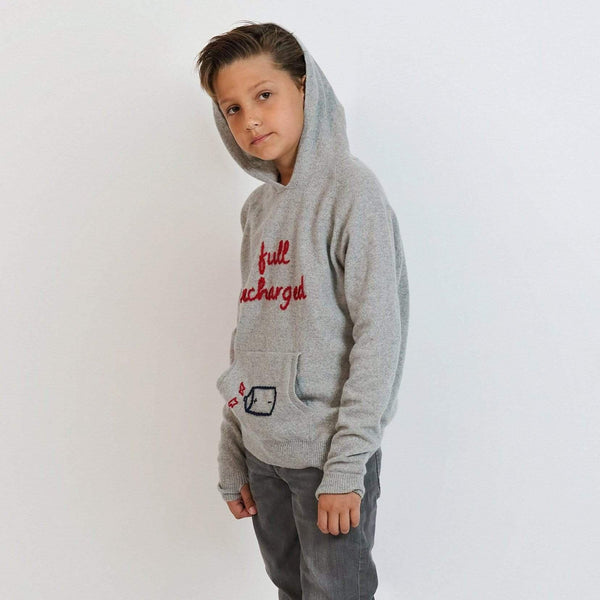 Baby & Taylor Hoodie KID HOODIE HEATHER GREY 'FULL RECHARGED' sustainable fashion ethical fashion