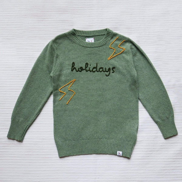 Baby & Taylor Sweater KID SWEATER HEATHER GREEN 'LIGHTNING BOLTS' sustainable fashion ethical fashion