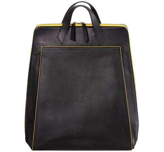 Canussa BackPacks Urban Backpack Black / Yellow - Zaino per laptop vegano moda sostenibile moda etica