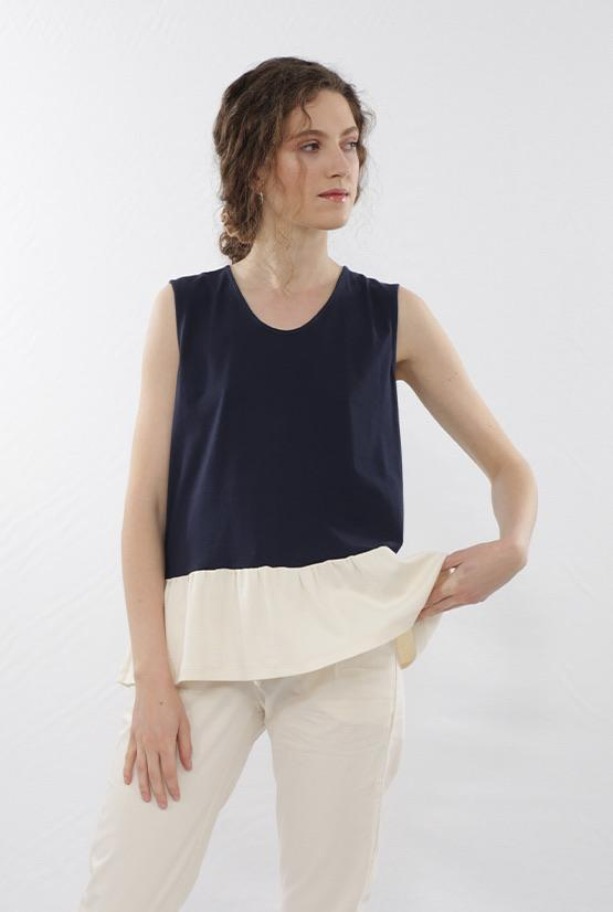 Finet tops Ruffle navy top in Organic Cotton sustainable fashion ethical fashion