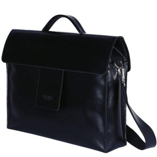 Goodforall bv Workbags Hunter Waxy Black MY HOME BAG Business in Leather and Recycled PET. sustainable fashion ethical fashion