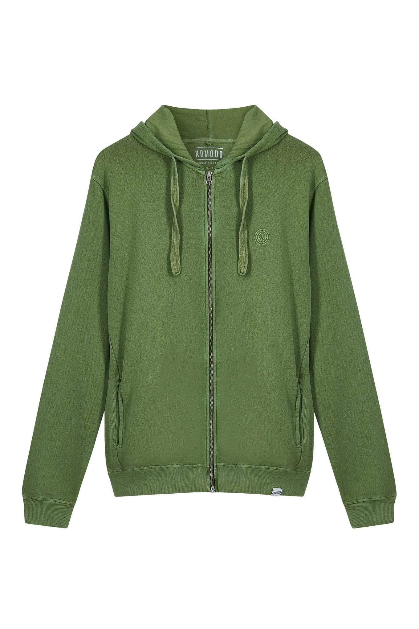 KOMODO Jumper APOLLO Mens - GOTS Organic Cotton Zip Hoodie Olive sustainable fashion ethical fashion