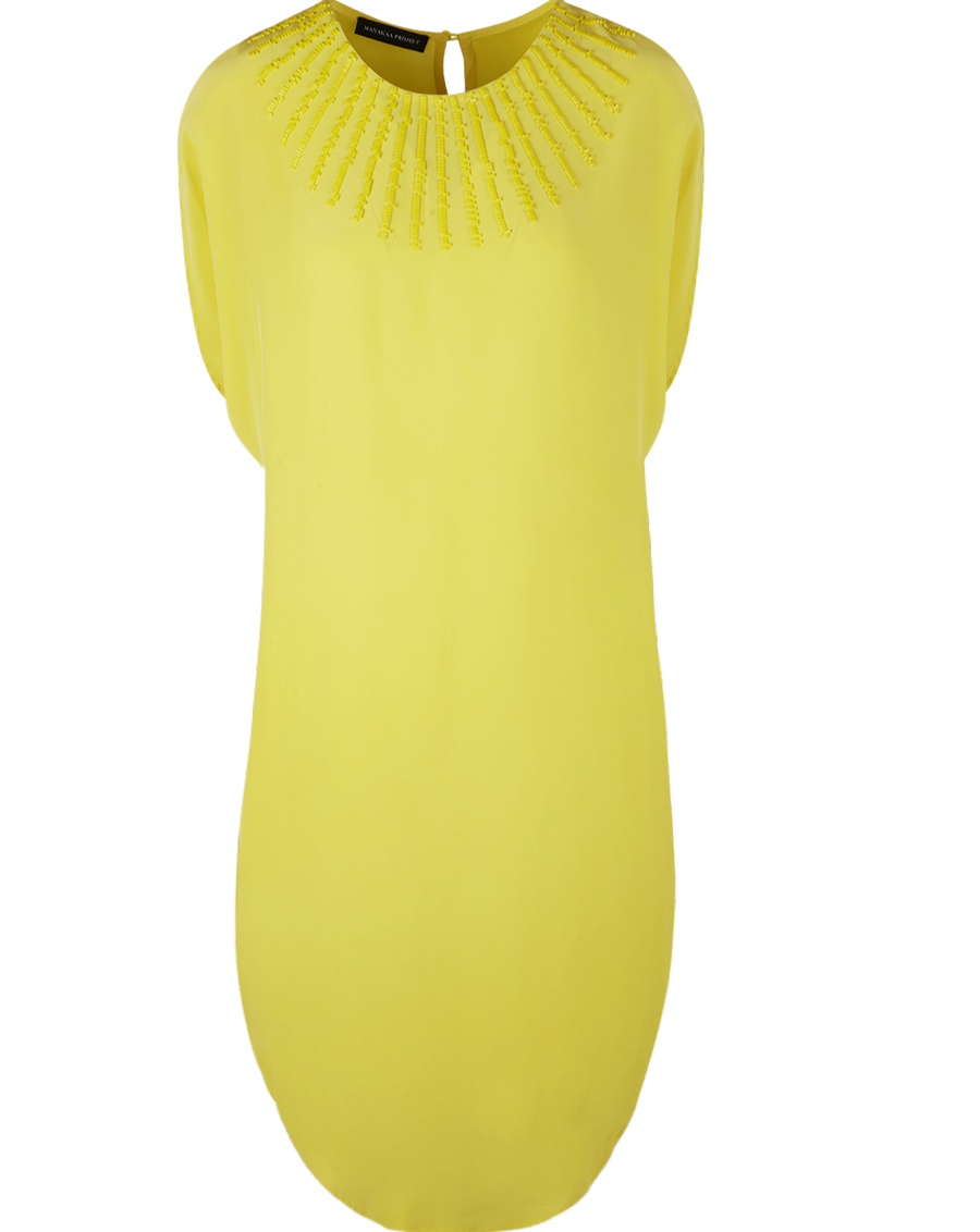 Manakaa Project UG dresses Yellow Dress in PEACE Silk and MIYUKI Beads sustainable fashion ethical fashion