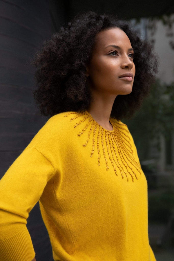 Manakaa Project UG sweaters Small/Medium / Mustard / Ray Mustard Jumper in Cashmere. sustainable fashion ethical fashion