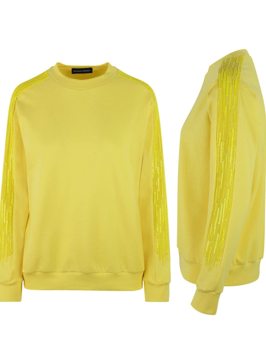 Manakaa Project UG sweaters Yellow Sweater in Organic Cotton. sustainable fashion ethical fashion