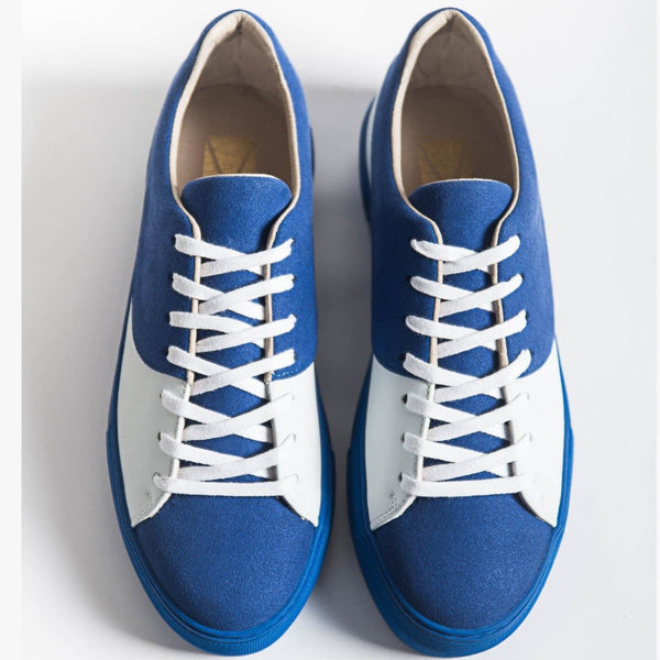 Laureline Blue Vegan Sneakers in Microfiber.