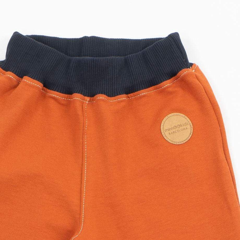 Mimookids Barcelona pants Pant Pull-me-up Organic Sweat Cinnamon Brown & Navy sustainable fashion ethical fashion