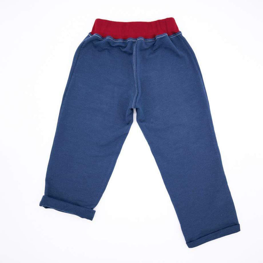 Mimookids Barcelona pants Pant Pull-me-up Organic Sweat Petrol Blue & Chili sustainable fashion ethical fashion