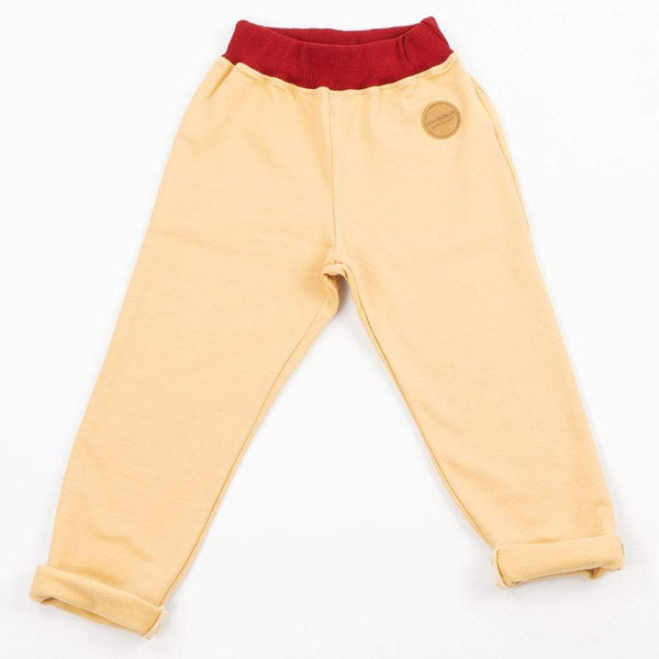 Mimookids Barcelona pants Pant Pull-me-up Organic Sweat Sand & Chili sustainable fashion ethical fashion