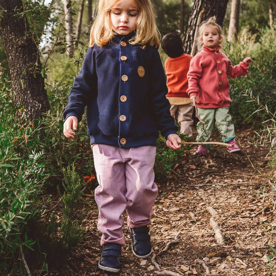 MimOOkids Barcelona Tops Cardigan Close-Me Organic Corduray Blueberry Turtle Neck sustainable fashion ethical fashion