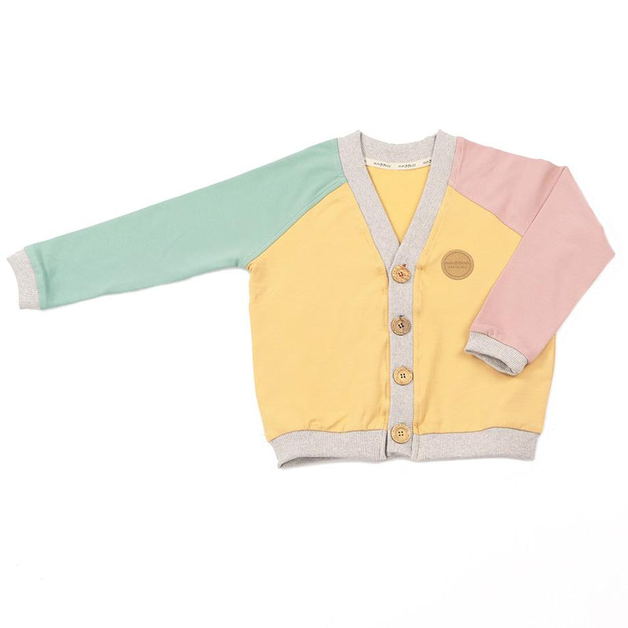 Mimookids Barcelona Tops Cardigan Close-Me Sudor orgànic Apple Sand Rose moda sostenible moda ètica