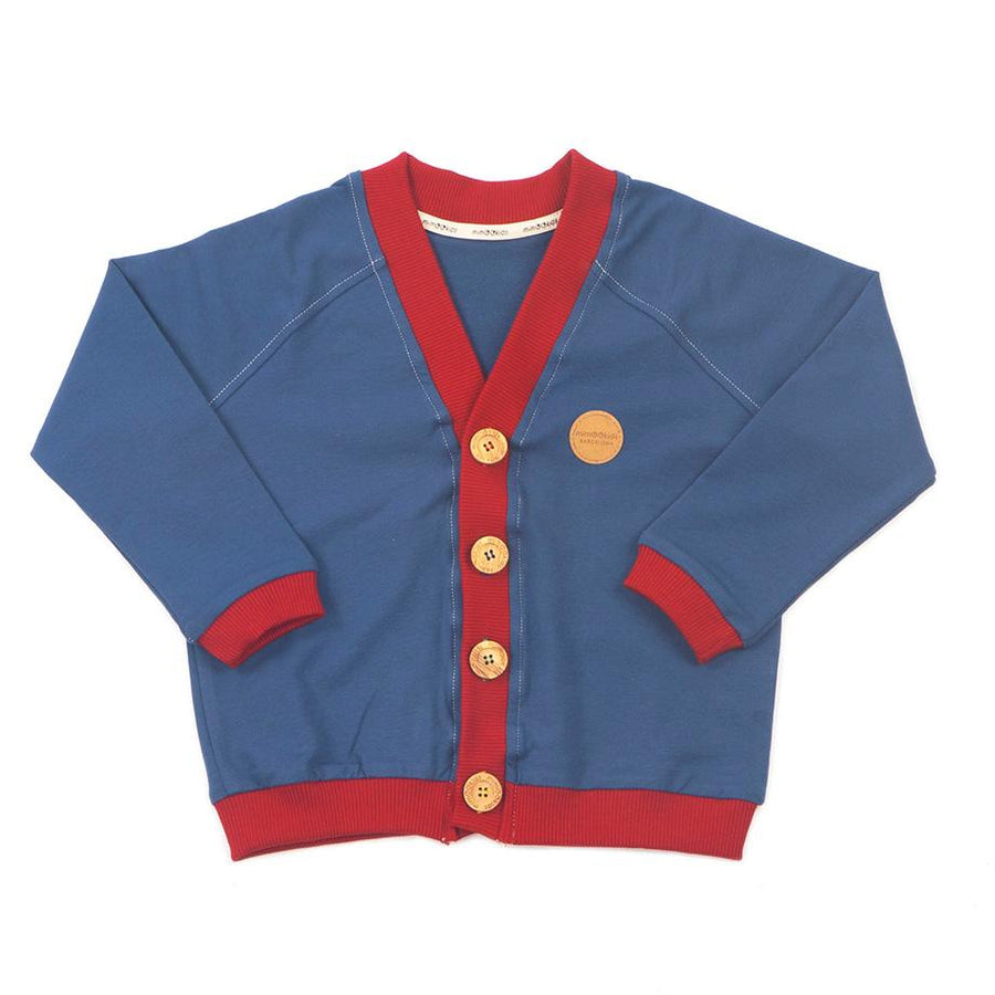 MimOOkids Barcelona Topper Cardigan Close-Me Organic Sweat Petrol Chili bærekraftig moteetisk mote