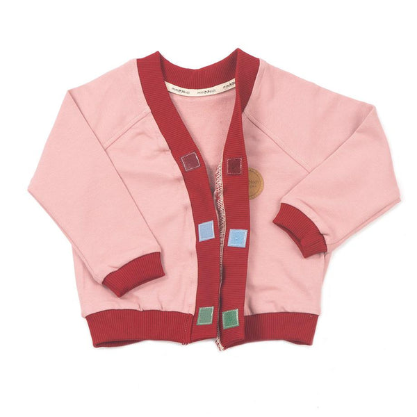 MimOOkids Barcelona Tops Cardigan Close-Me Organic Sweat Rose Chili sustainable fashion ethical fashion