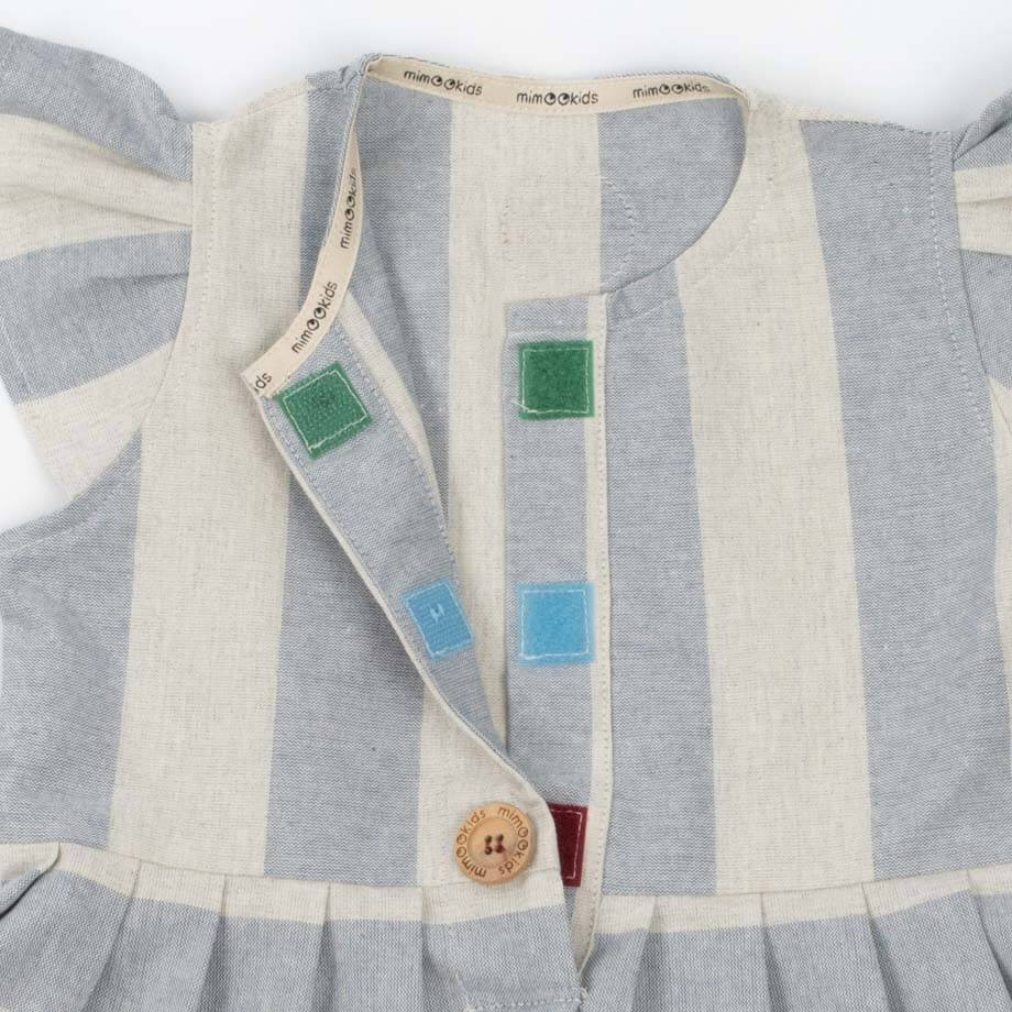 MimOOkids Easy-Dresses & Skirts Easy-Dress Recycled Cotton Baby Blue Stripes & Grey sustainable fashion ethical fashion