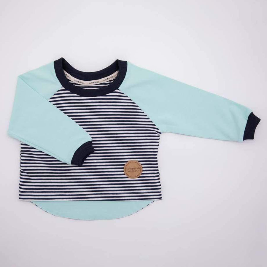 MimOOkids Tops Easy-Dressing-Shirt Easy-Dressing Organic Mint & Navy-Stripes nachhaltige Mode ethische Mode