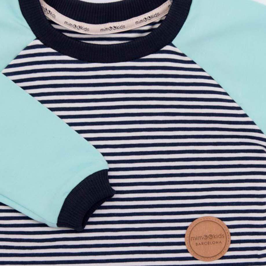 MimOOkids Tops Easy-dressing Shirt Easy-dressing Organic Mint & Navy-Stripes sustainable fashion ethical fashion