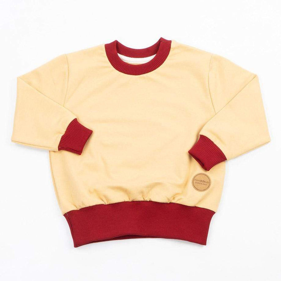 MimOOkids Tops Easy-dressing Sweater Easy-dressing Organic Sweat Sand & Chili Red sustainable fashion ethical fashion
