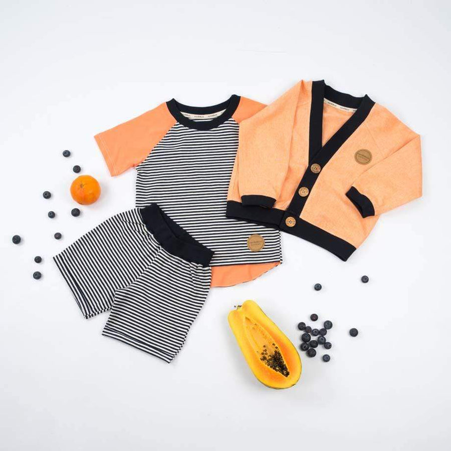 MimOOkids Tops Easy-dressing T-Shirt Easy-dressing Organic Papaya & Navy Stripes sustainable fashion ethical fashion
