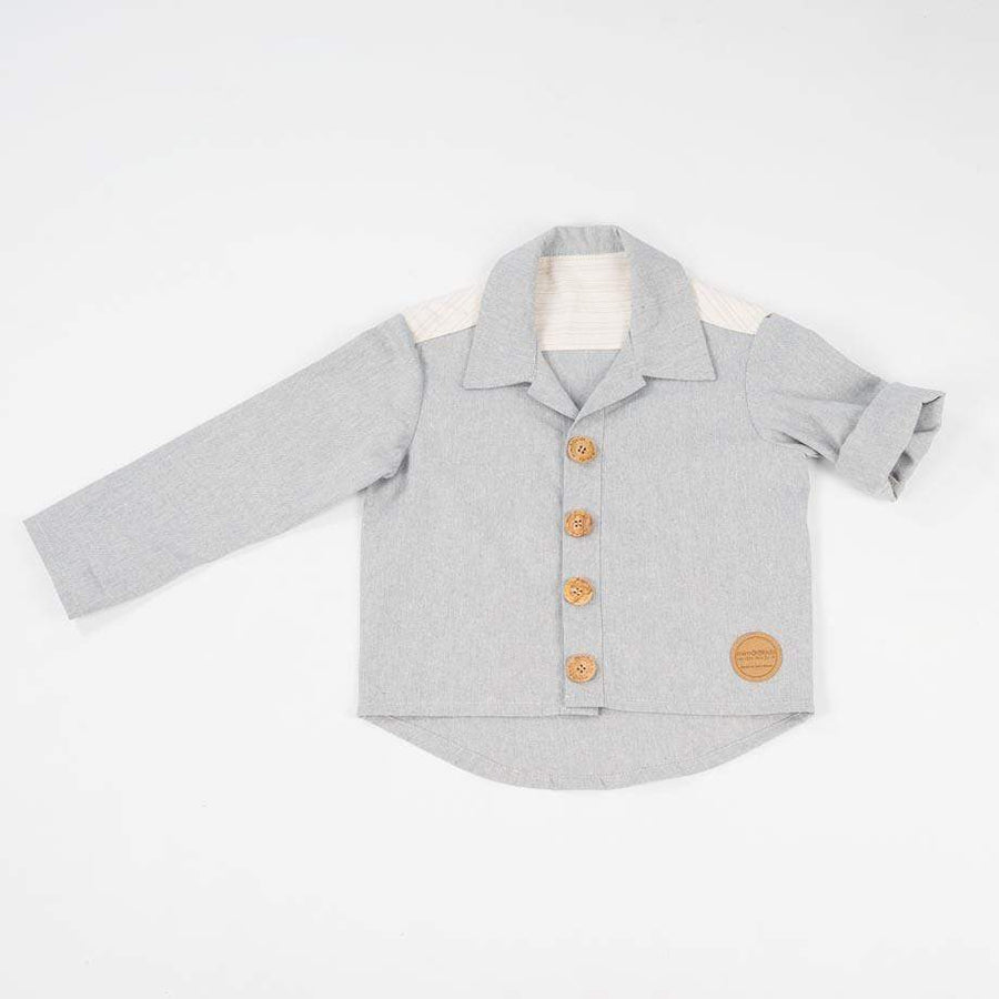 MimOOkids Topper skjorte Close-Me Recycled Cotton Baby Blue bærekraftig moteetisk mote