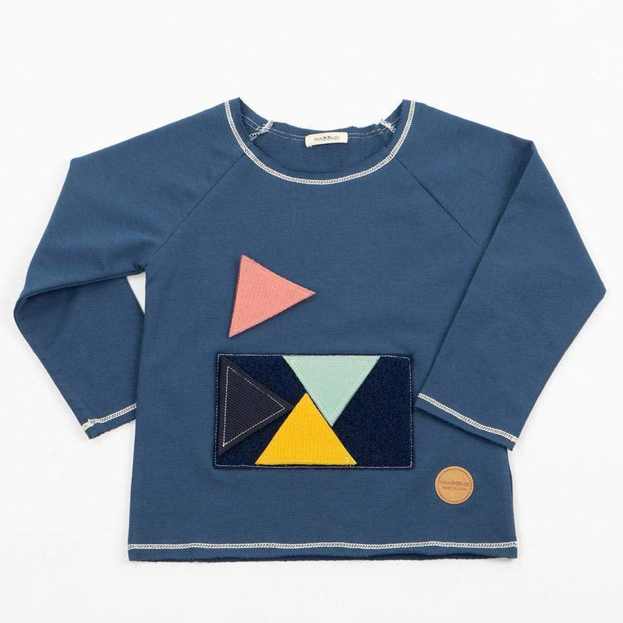 MimOOkids Velcro Games Styles Sweater Play-With-Me Organic Sweat Petrol Blue sustainable fashion ethical fashion