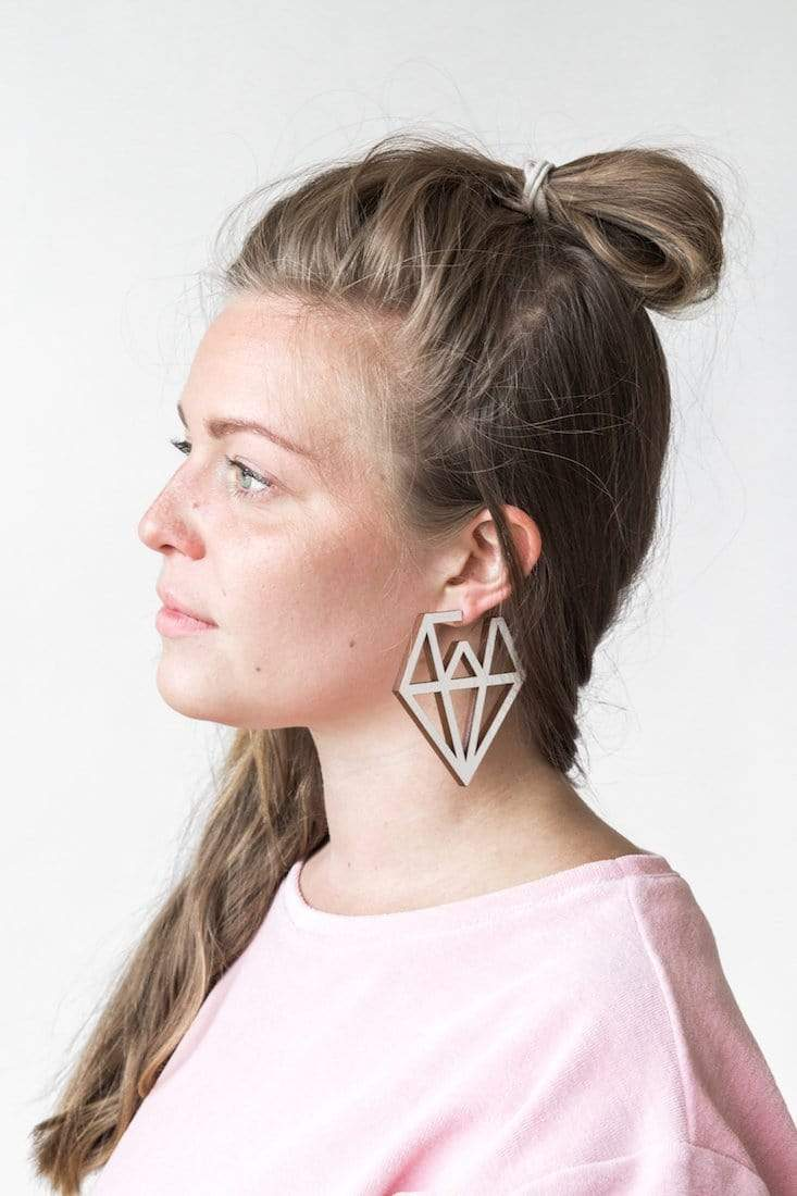 Mori Collective accessory Doo Wop Earrings in Birch Ply Wood and Silver. sustainable fashion ethical fashion