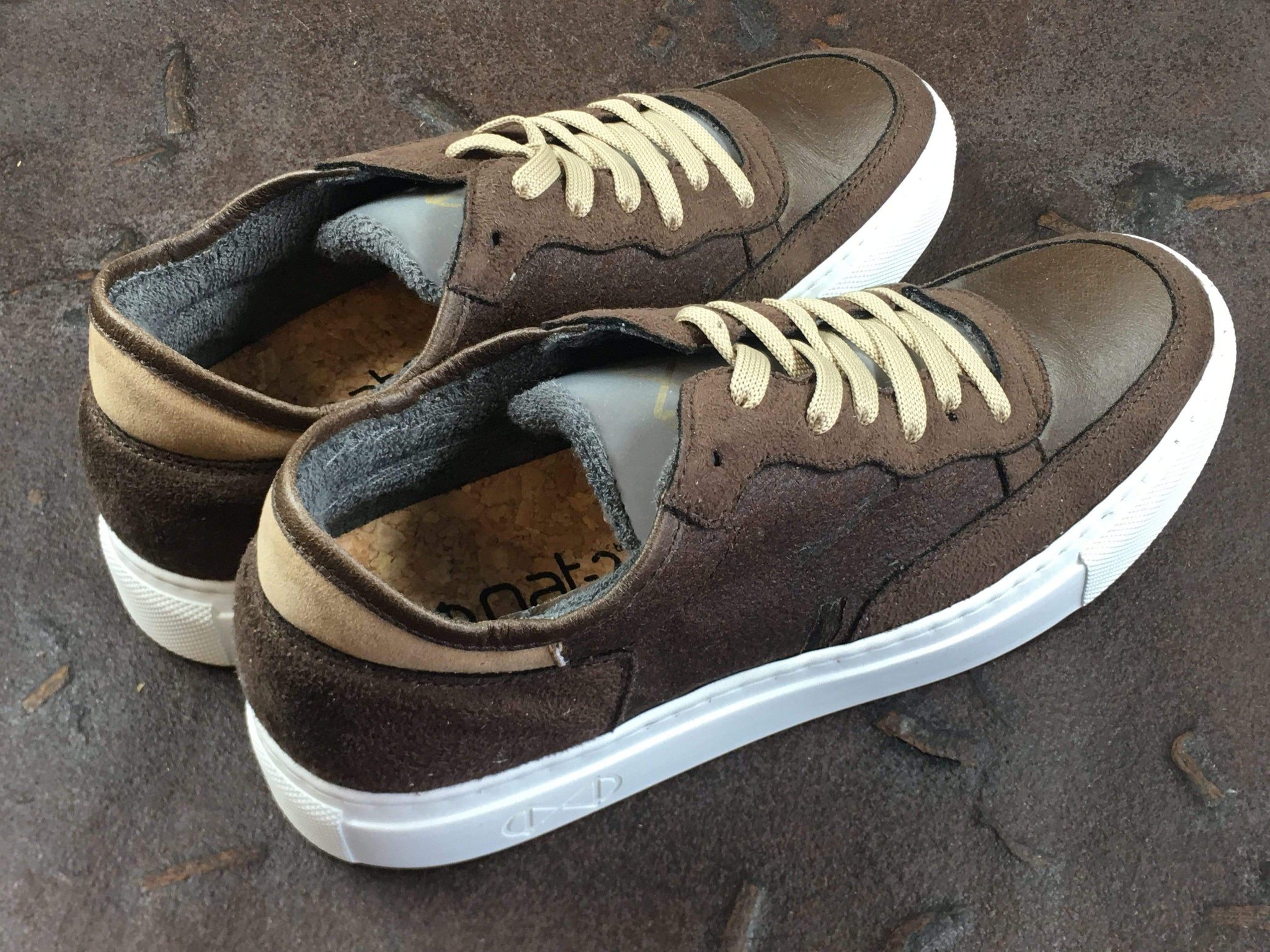 NAT 2 shoe Coffee Sneakers. Coffee, Glass and Recycled PET Man-made Leather. sustainable fashion ethical fashion