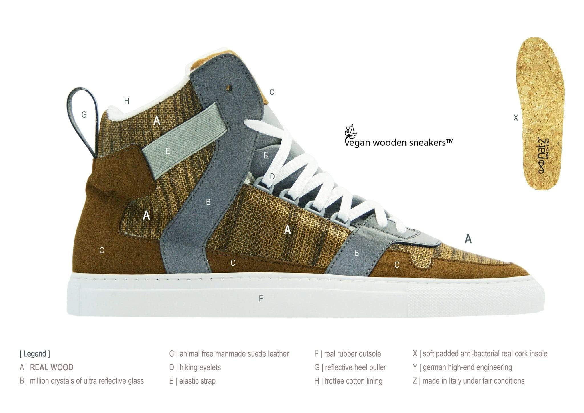 NAT 2 shoe Wooden Cube Sneakers. Real Wood, Reflective Glass and Mircofiber from Recycled PET. sustainable fashion ethical fashion