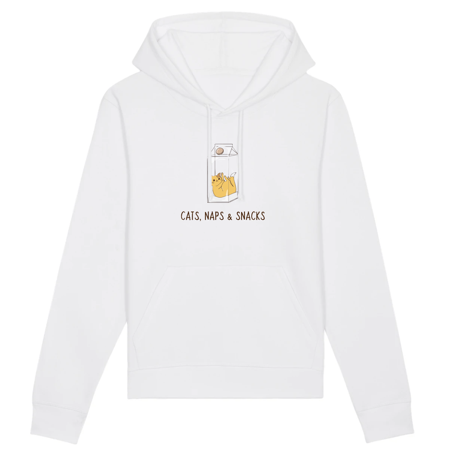 OATMILKCLUB Hoodie - DRUMMER - Stanley - DTG Cats, Naps & Snacks - Organic Cotton Hoodie sustainable fashion ethical fashion