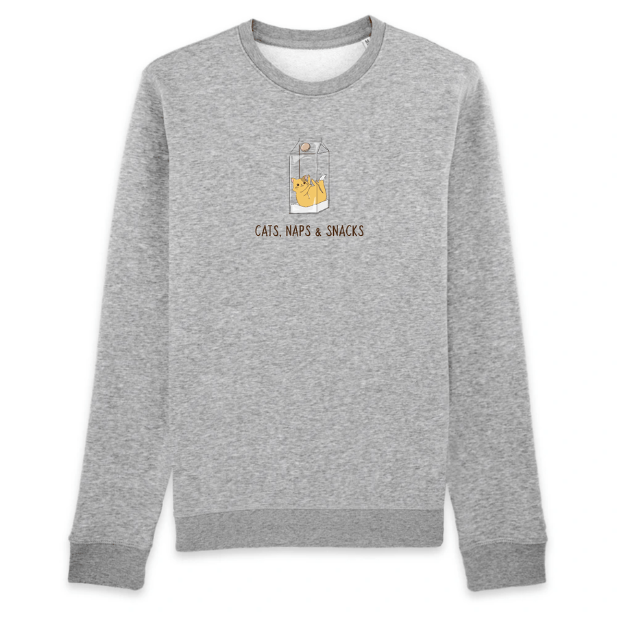 OATMILKCLUB Sweat-shirt - Rise - Stanley - DTG Cats, Naps & Snacks - Organic Cotton Sweatshirt sustainable fashion ethical fashion