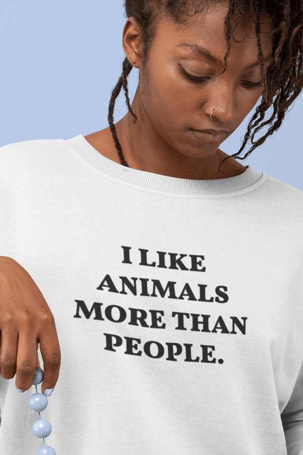 OATMILKCLUB Sweat-shirt - Rise - Stanley - DTG I like Animals more than People - Sweat-shirt en coton bio mode durable mode éthique