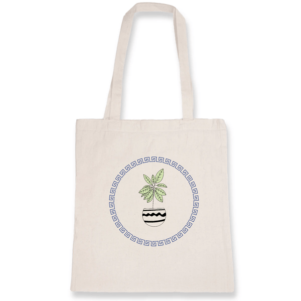 OATMILKCLUB Totebag blanc cassé - DTG Unique / White Happy Plant - Tote Bag coton bio mode durable mode éthique