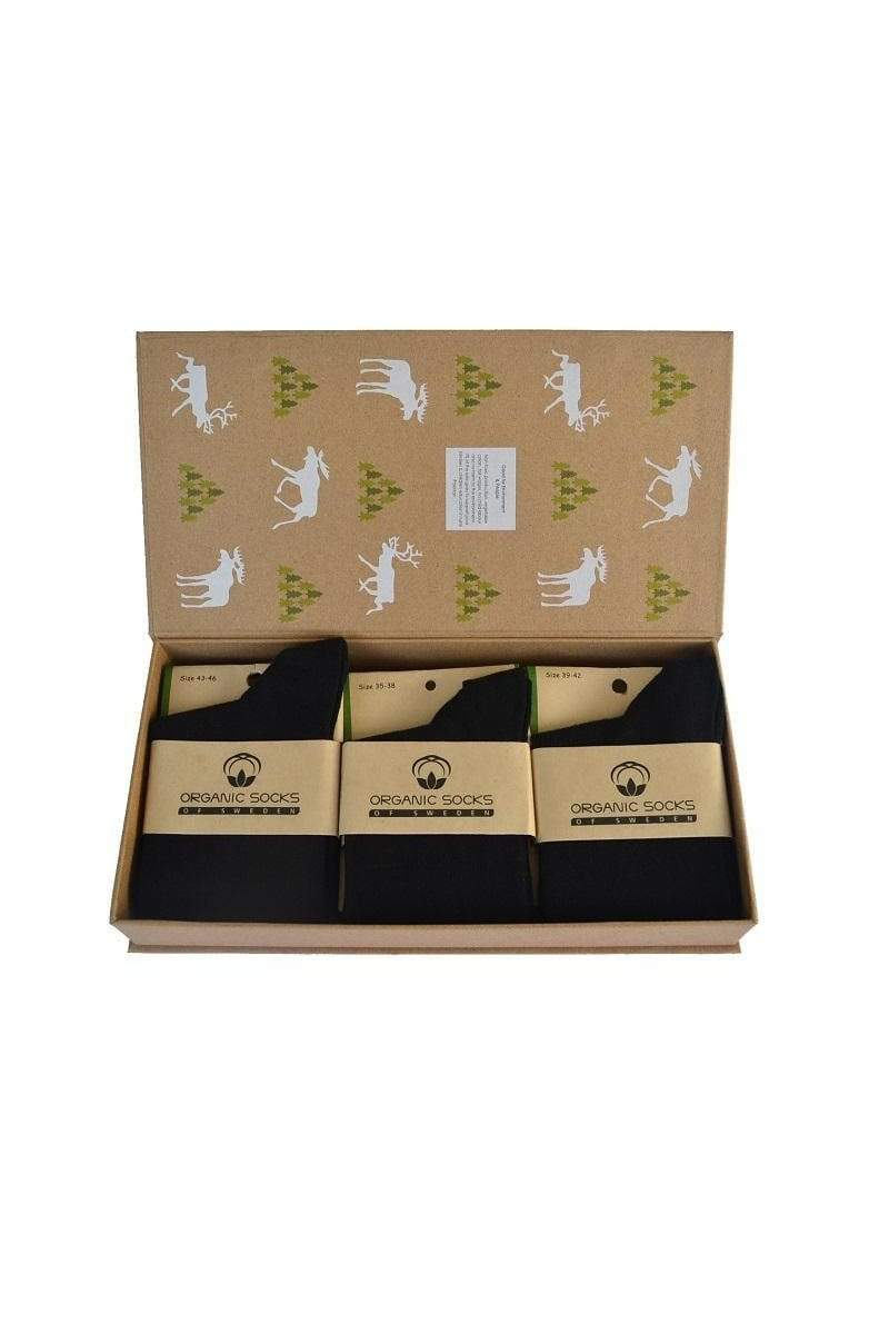 Organic Socks of Sweden sock Black Box Socks Gift Box. Organic Cotton. sustainable fashion ethical fashion