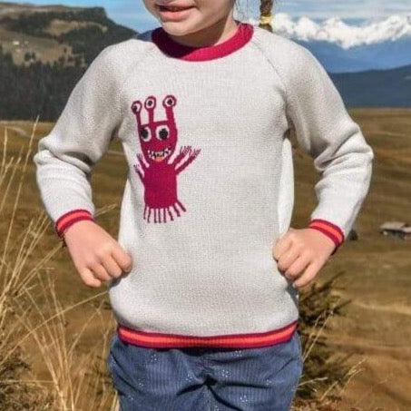 Pamboo Merino Merinopullover hell/pink mit Monster sustainable fashion ethical fashion