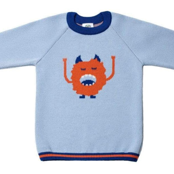 Pamboo Merino Merinopullover hellblau/orange mit Monster sustainable fashion ethical fashion