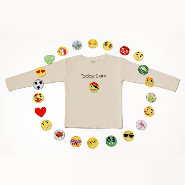 "Pamboo Tshirt Emoji T-Shirt ""Today I am"" für Kinder, langarm, mit 23 Emoji-Stickern sustainable fashion ethical fashion"