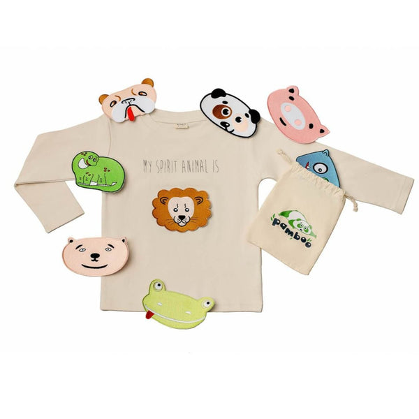 "Pamboo Tshirt Langarm-Shirt mit 8 Tiermotiven ""My Spirit Animal"" pour Kinder mode durable mode éthique"