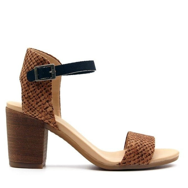 Mid Heel Sandal in Cork and Recycled PET.