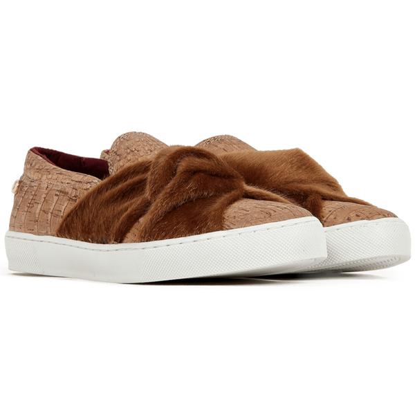 Vegan Slip On in Cork and Synthetic Fur.