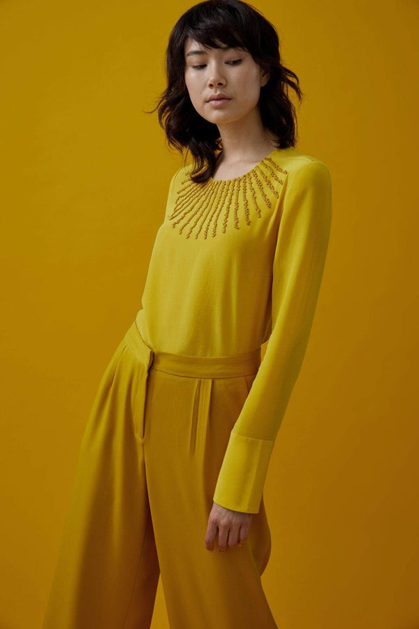 Slow Nature® Yellow Blouse in Peace Silk sustainable fashion ethical fashion